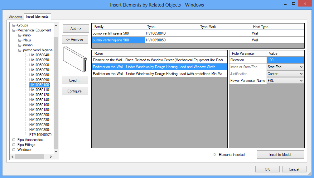 Insert Elements by Related Objects Dialog Window