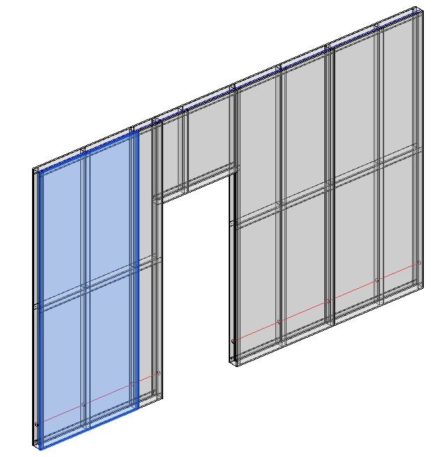 Precise framed partition design in Revit model with Metal Framing functions