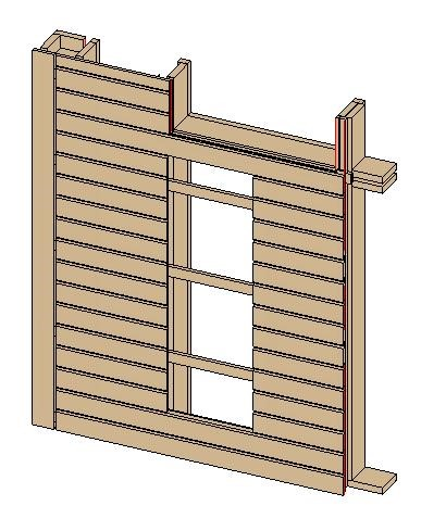 Wall frame in which bridging and nogging were deleted using AGACAD's Wood/Metal Framing BIM design tools for Autodesk Revit