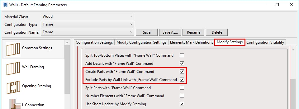 Create or exclude parts using the Frame Wall command in AGACAD's Wood/Metal Framing BIM design tools for Autodesk Revit