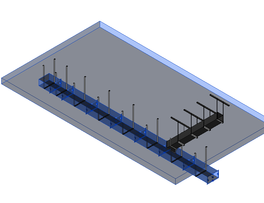 ductwork supported by MEP Fabrication Hangers in Autodesk Revit