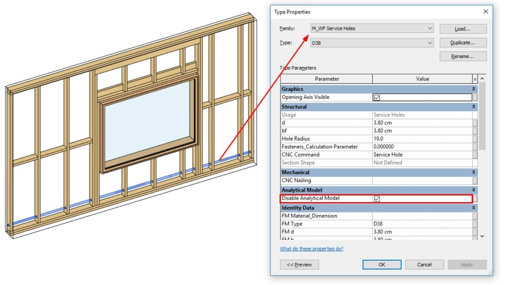 Disable analytical lines for specific elements using AGACAD's Wood/Metal Framing BIM design tools for Autodesk Revit
