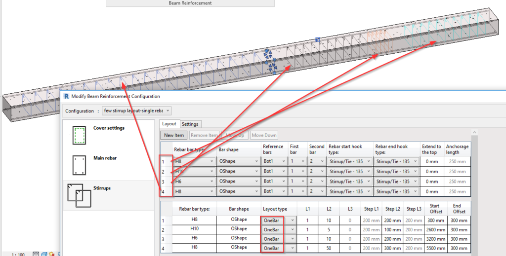 Stirrup Layout Rules in AGACAD Beam Reinforcement Revit addon