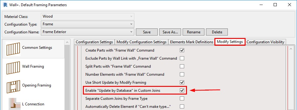 feature for updating by database in custom joins in AGACAD's Wood/Metal Framing BIM design tools for Autodesk Revit