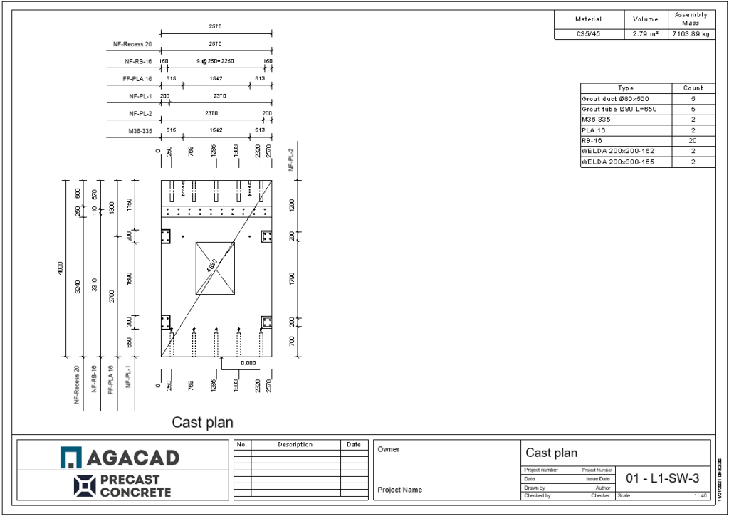 Shop ticket generated using AGACAD's Precast Concrete design software for Autodesk Revit