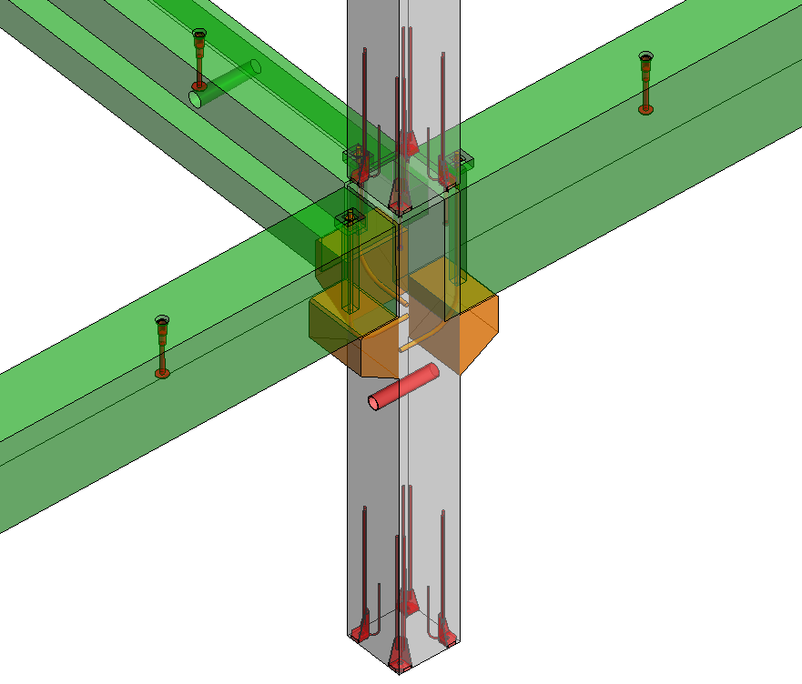 Precast beam connection to column with bolts