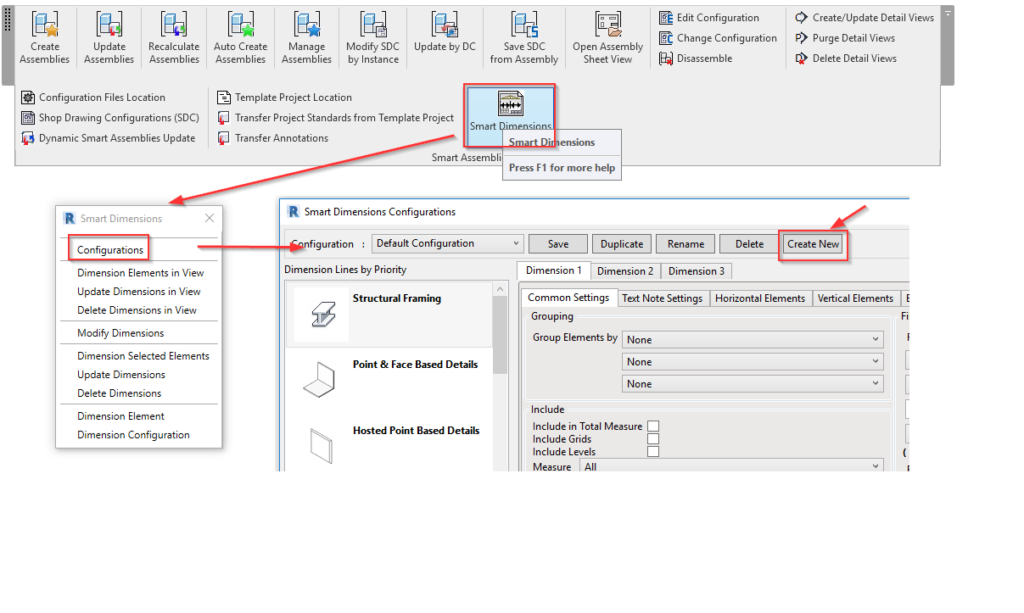 Create new smart dimensions configuration in Revit using AGACAD Smart Assemblies