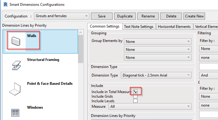 Option to include wall in total dimensions in Revit using AGACAD Smart Dimensions addon
