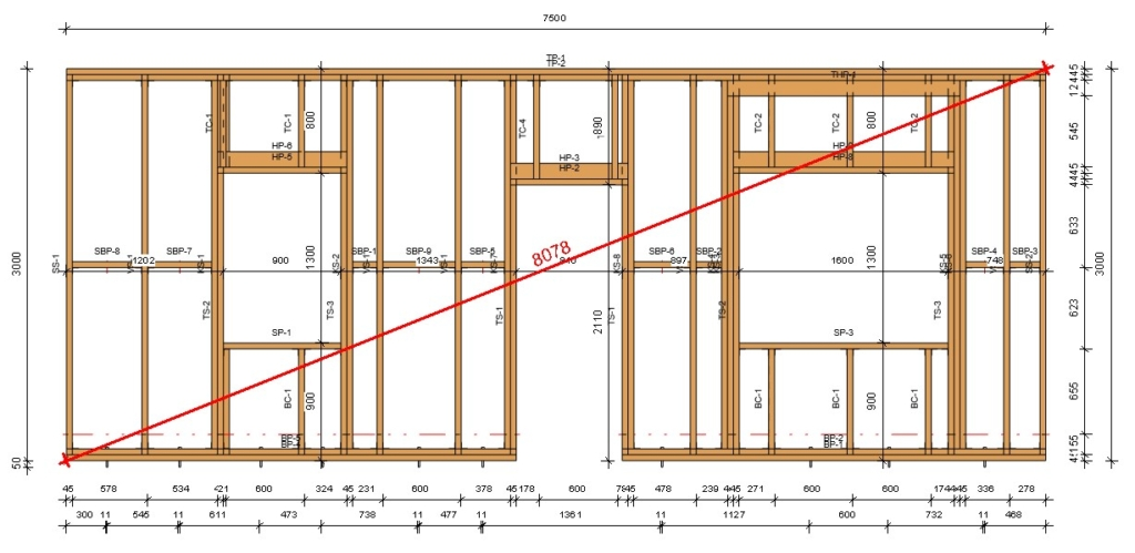 total diagonal dimension of a wall frame in Revit