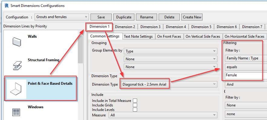 Dimension style for ferrule elements in Revit wall