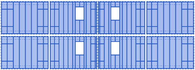 A group of framed walls in Revit