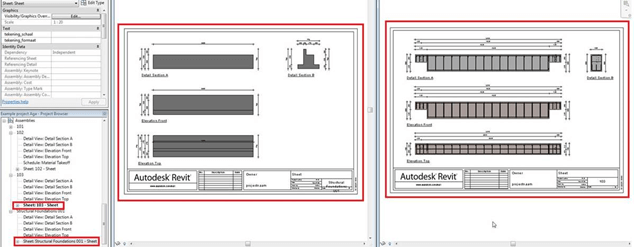 Autodesk Revit app Smart Assemblies: schedules and sheets in a separate tabs