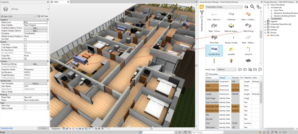 panorama of building interior modeled in Revit