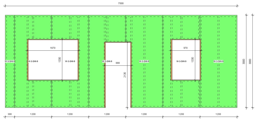 Wood-framed window openings with dimensions in Revit