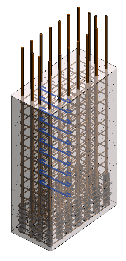 Precast column with extended rebars, grout tubes and stirrups