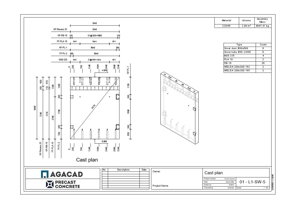 Shop drawing of precast wall with ferrules