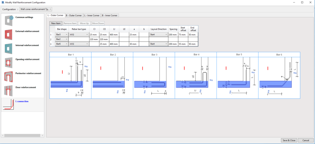 Wall reinforcement corner configurations in AGACAD's Wall Reinforcement Tool for Revit