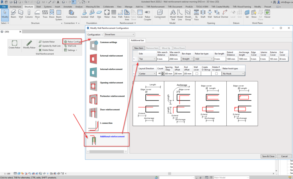 Configuring placement of dowel bars on top side of Revit wall