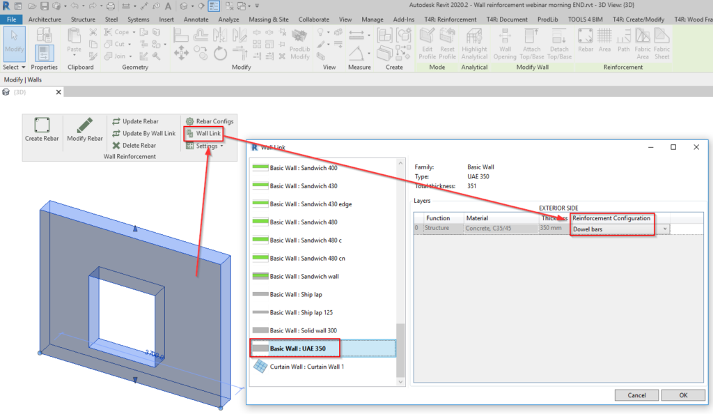 Linking configuration to the Revit wall type