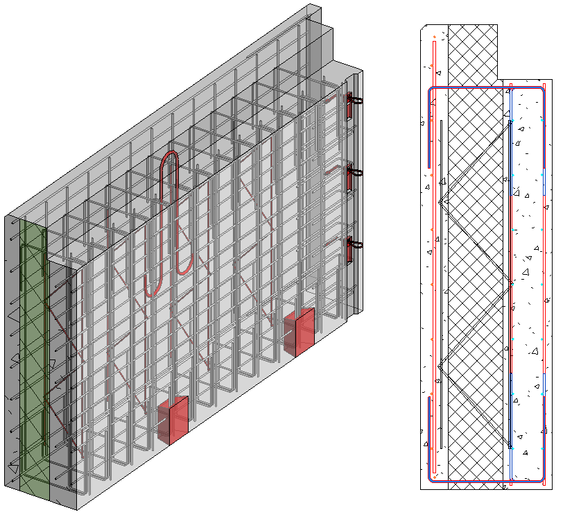 U bars connecting exterior and interior parts of concrete sandwich wall in Revit