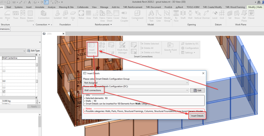 Inserting grout tubes in Revit walls