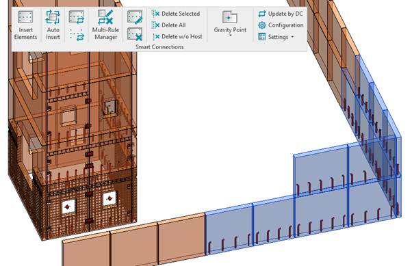Inserting grout tubes in precast wall panels in Revit
