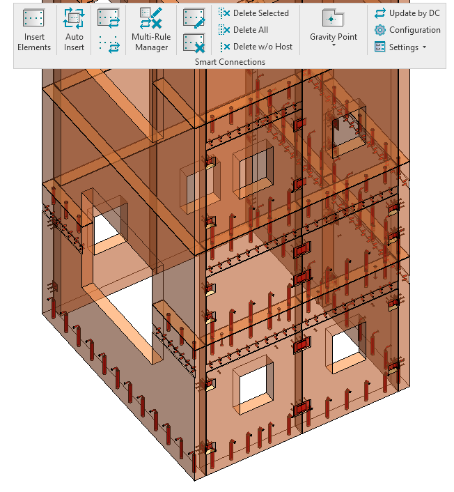 Grout tubes, plates and ferrules placed automatically in a precast concrete Revit model using AGACAD Smart Connections tool