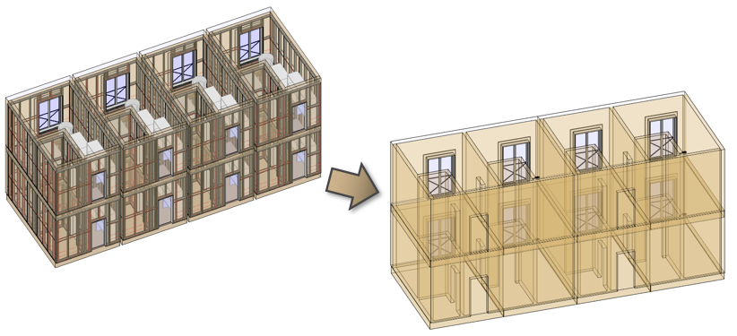 Framing building modules simultaneously in Revit