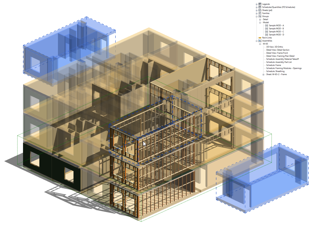 Setting up a modular building in Revit