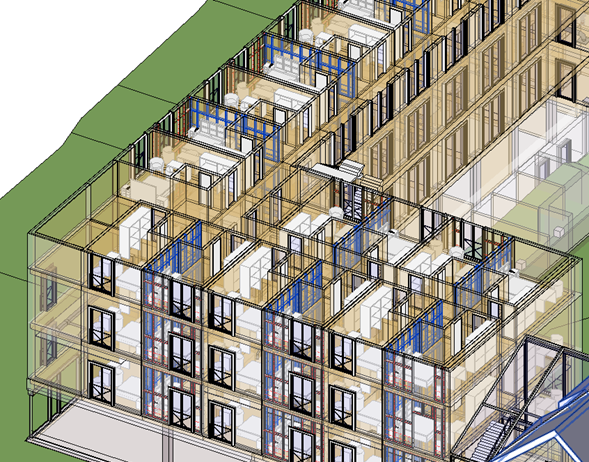 Wall frames produced for all walls of one type in Revit
