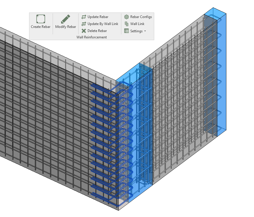 Wall reinforcement for seismic type of the connection in Revit