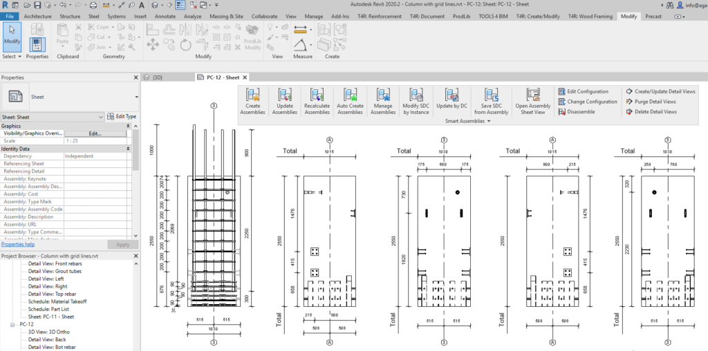 production ticket of precast column modeled in Revit with grids visible