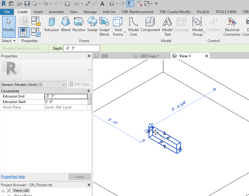 Create void and cut host in Revit Family editor