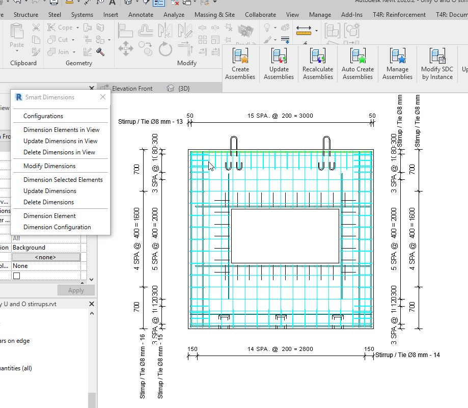 Dimensions for stirrups in precast wall in Revit