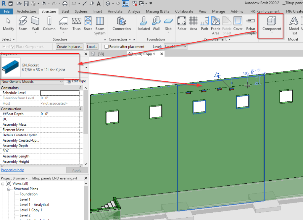 Place Face-based Families on tilt-up wall in Revit