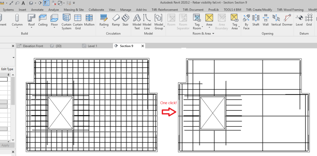 Changing visibility of rebar in Revit