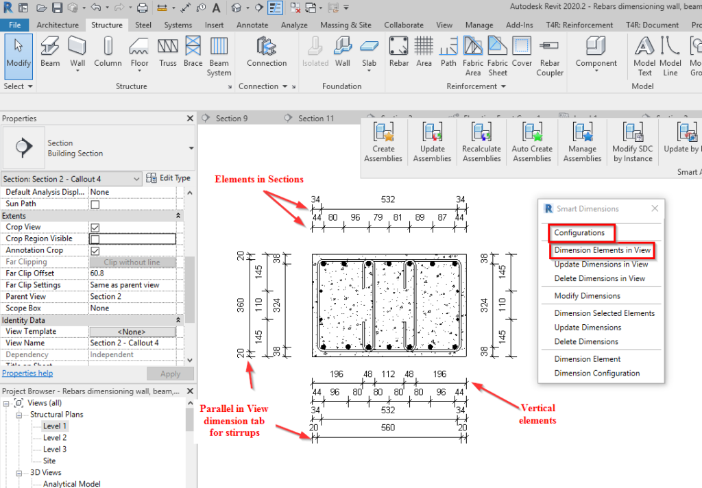 Automatically placed dimensions for rebar in Revit