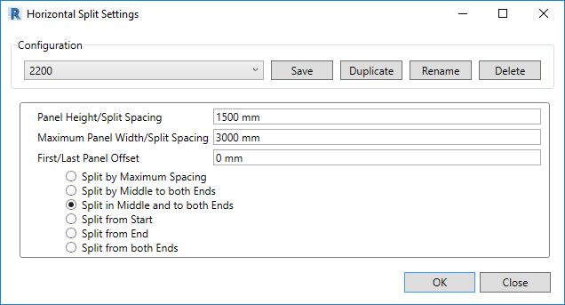 Horizontal split settings in Smart Walls tool for Revit
