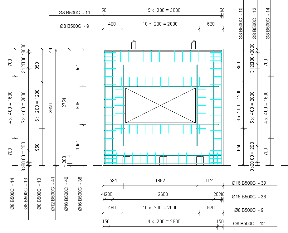 automatic dimensioning of wall rebar in Revit