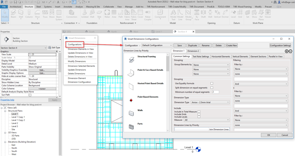 Configurations of Smart Dimensions tool in Revit
