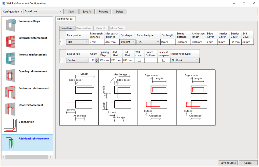 Configuration UI of AGACAD Wall Reinforcement tool for Revit