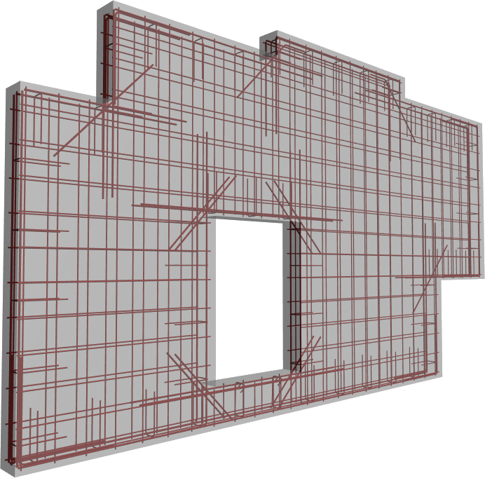 Solid wall with auto reinforcement created in Revit