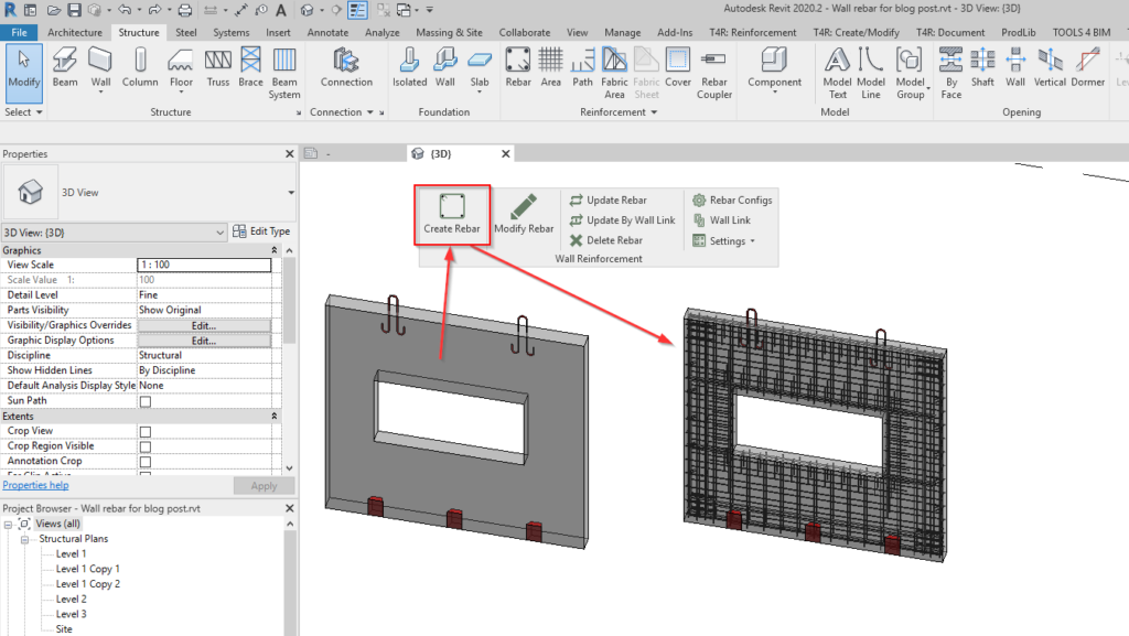 automated wall reinforcement in Revit
