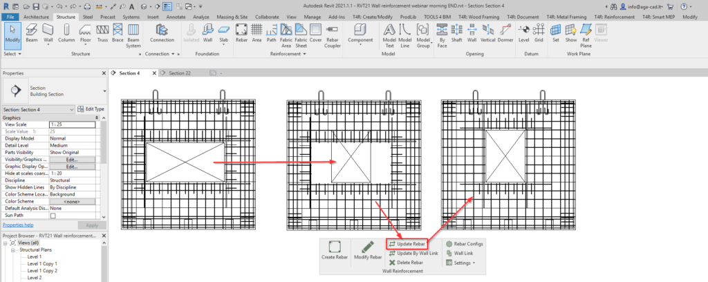 Updating wall reinforcement in Revit after making changes