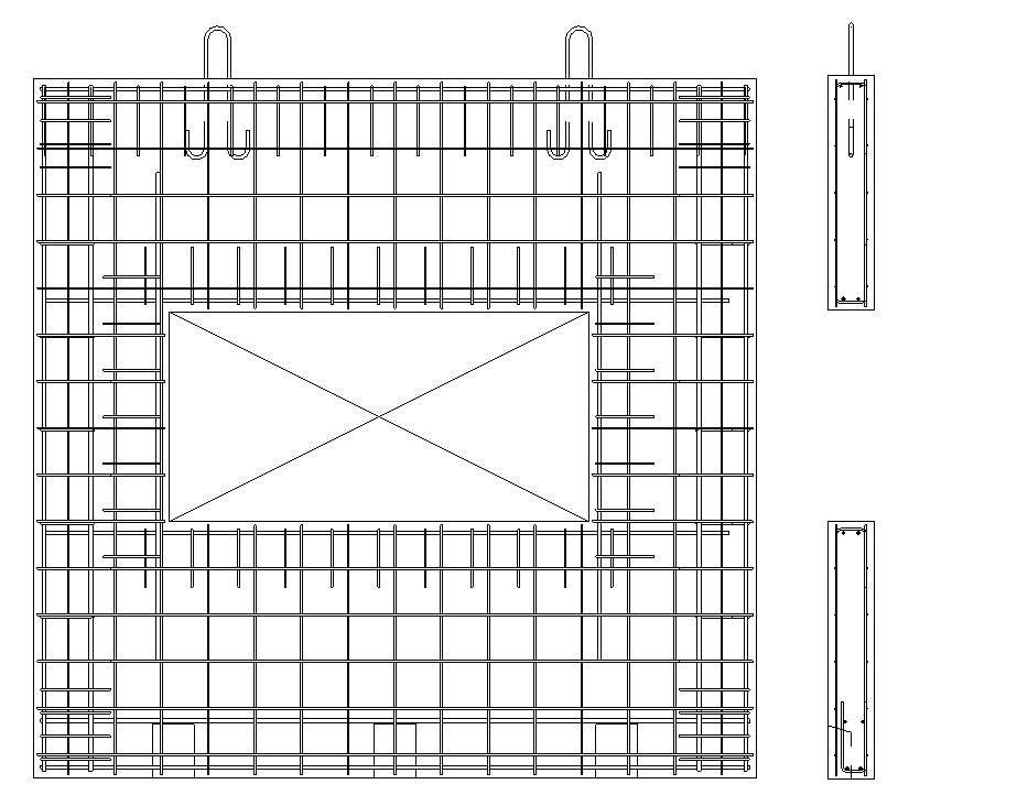 Solid precast wall front and section views in Revit