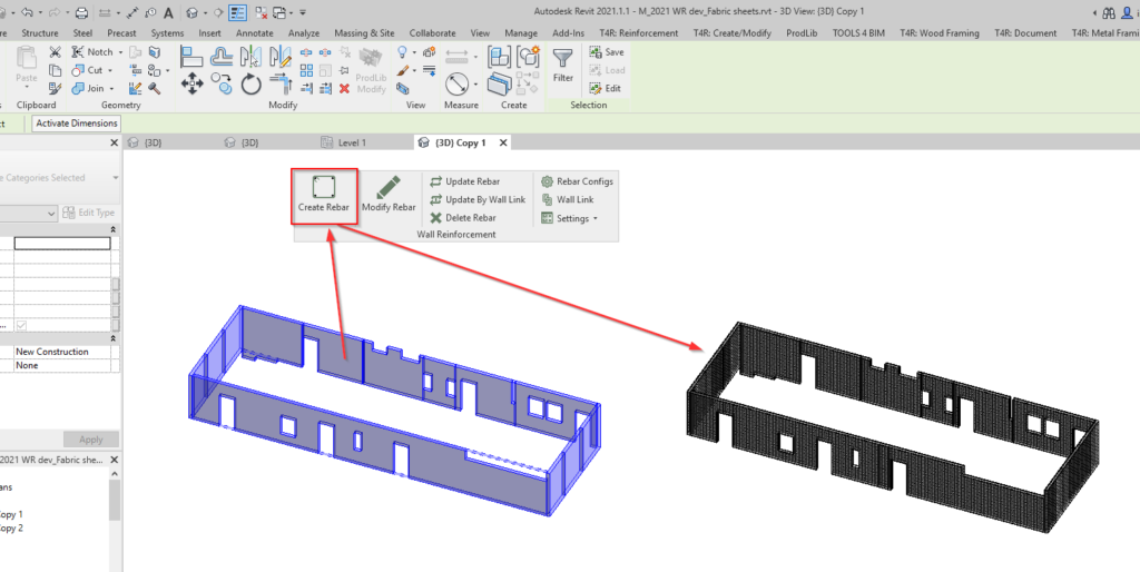 Create Fabric Sheets in Revit using AGACAD Wall Reinforcement tool