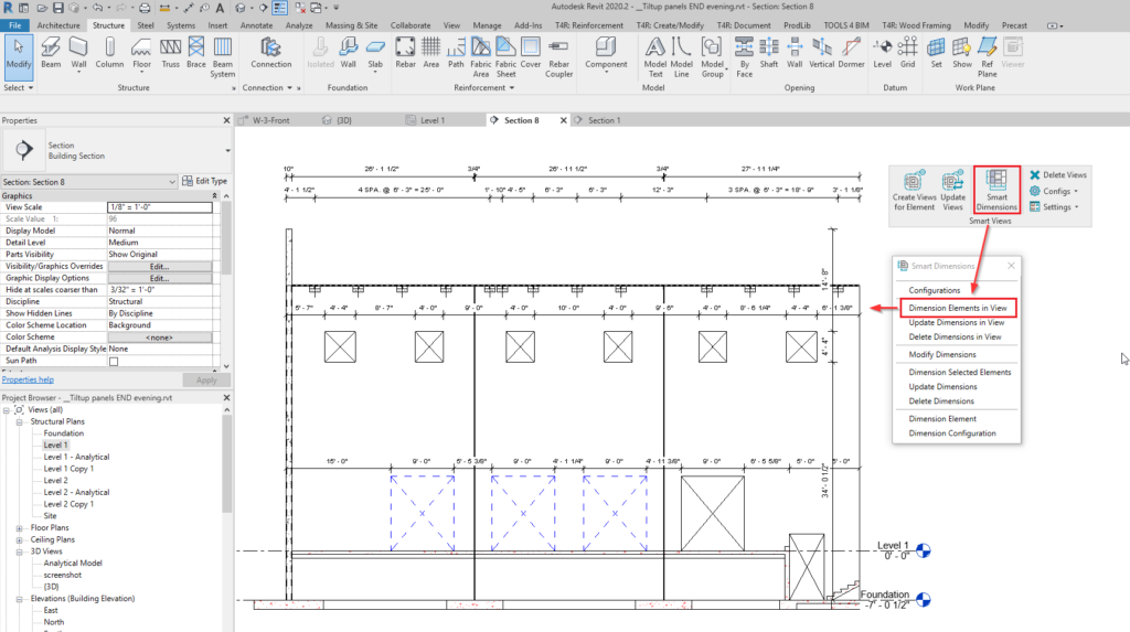 Dimensioning of tilt-up panels in the elevation view in Revit