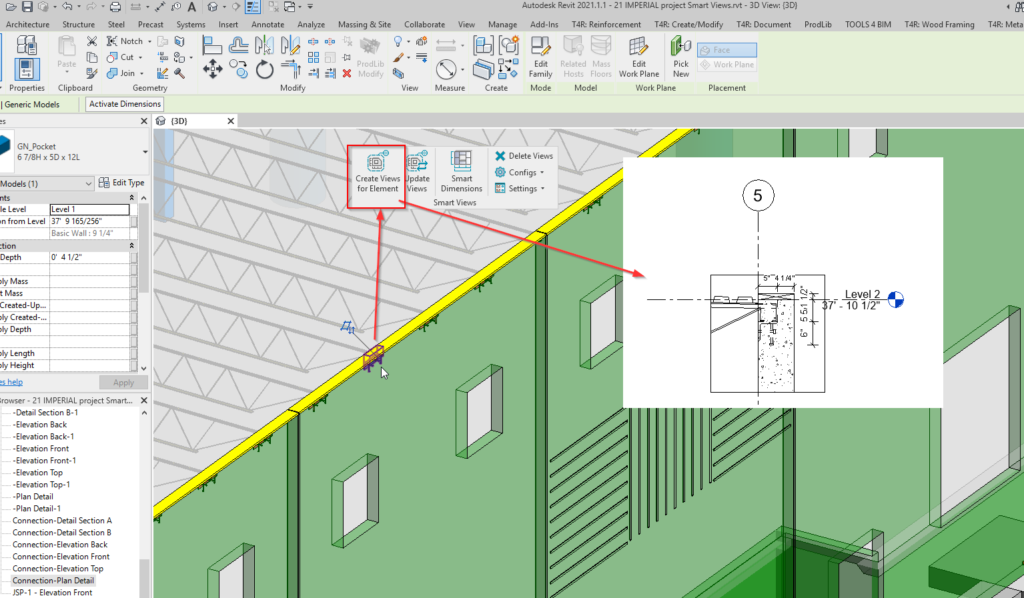 Joist support section in Revit