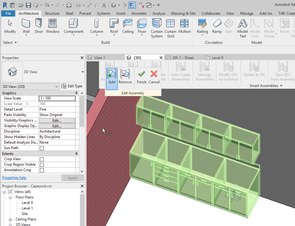 Adding some casework elements to a Revit Assembly