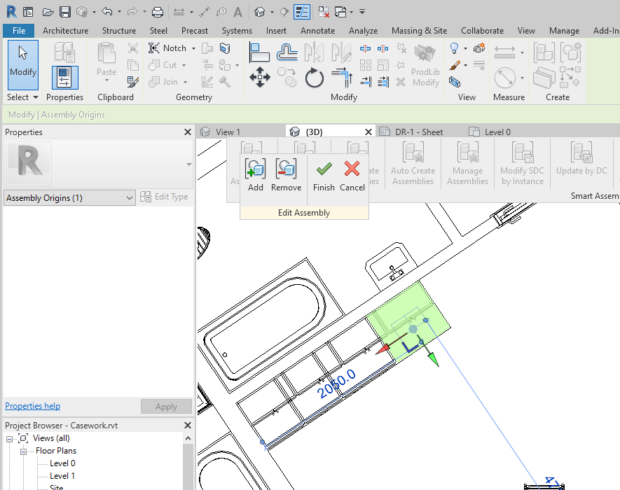 Casework assembly origin automatically rotated in Revit